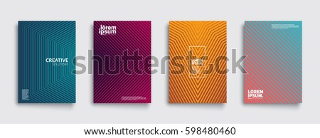 Minimal covers design. Geometric halftone gradients. Eps10 vector. Royalty-Free Stock Photo #598480460