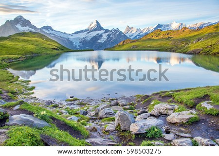 Nice landscape with  lake in the Swiss Alps, Europe. Wetterhorn, Schreckhorn, Finsteraarhorn et Bachsee. ( relaxation, harmony, anti-stress - concept).  #598503275
