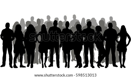 silhouette people, group, crowd silhouettes Royalty-Free Stock Photo #598513013