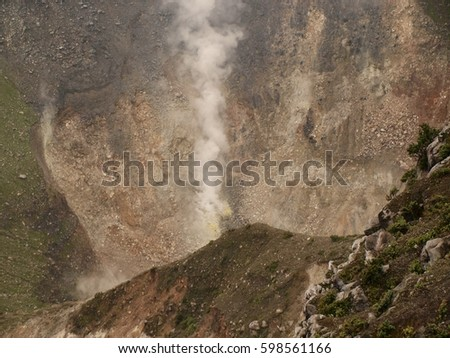 Mount Gede crater with smoke #598561166