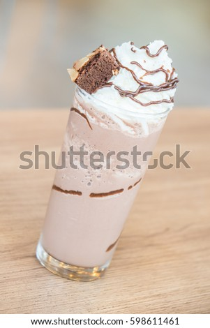 Chocolate smoothie with brownie on top #598611461