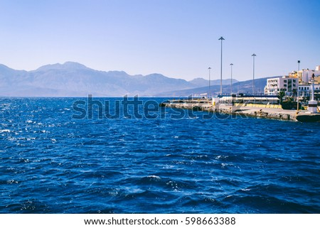 Beautiful view of the sea from the ship, the Greek coast #598663388