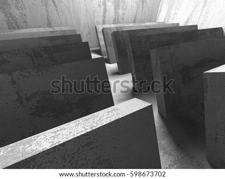 Concrete architecture background. Abstract empty dark room. 3d render illustration #598673702