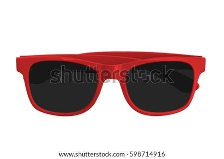 red sun glass isolated on white background #598714916