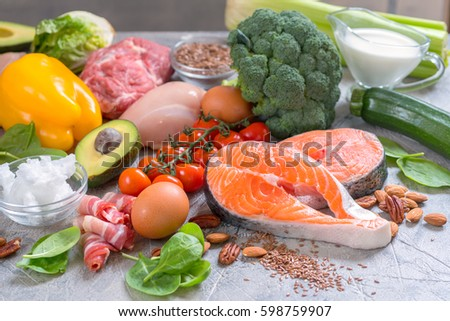 Healthy eating food low carb keto ketogenic diet meal plan protein fat Royalty-Free Stock Photo #598759907