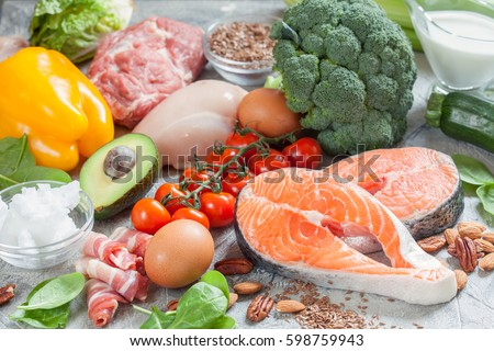 Healthy eating food low carb keto ketogenic diet meal plan protein fat Royalty-Free Stock Photo #598759943