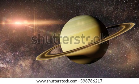 planet Saturn in front of the Milky Way galaxy (3d illustration, elements of this image are furnished by NASA)