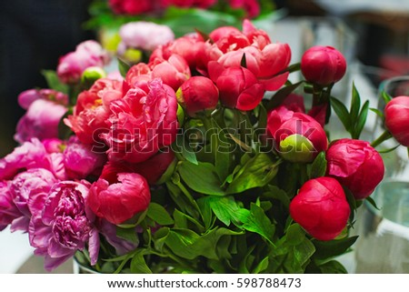 Beautiful peonies bouquet #598788473