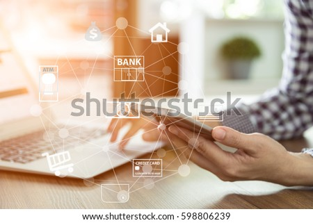 mobile banking network. business people using mobile phone with icon application online payment.  Royalty-Free Stock Photo #598806239
