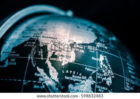Globe. (map, globe, travel) low key tone process #598832483