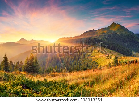 Amazing summer sunrise in Carpathian mountains. Colorful morning scene with first sunlight glowing hills and valleys. Beauty of nature concept background. Artistic style post processed photo.