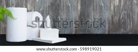 Paper tissue, paper towel and napkins on wooden background. Wide panoramic image. Copy space. #598919021