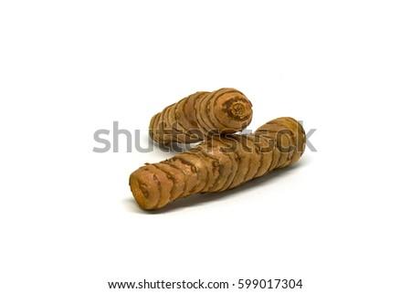 Fresh Cut curcuma root isolated #599017304