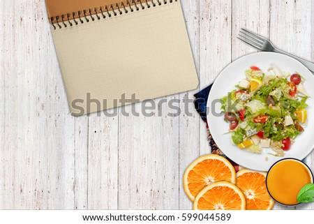 Dietary food. Salad, orange #599044589