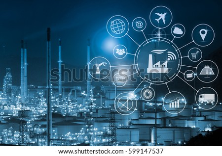 Industry 4.0 concept, smart factory with icon flow automation and data exchange in manufacturing technologies. #599147537
