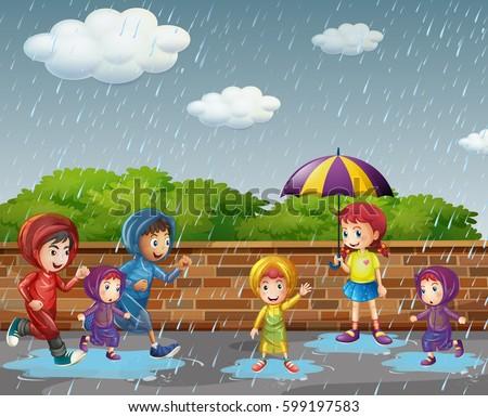 Many children running in the rain illustration