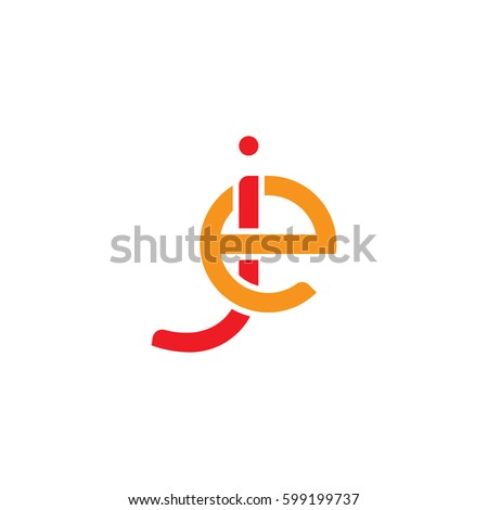 Initial letters je, ej, round linked overlapping lowercase logo modern design red orange #599199737