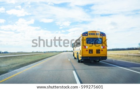 School Bus on the freeway #599275601