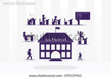 School icon vector illustration eps10. Isolated badge for website or app - stock infographics #599319461