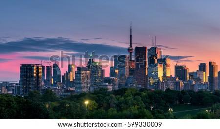 Toronto city at sunset, Ontario, Canada