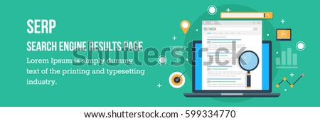 Search engine result page flat vector, Page showing search results of a query, web search flat concept