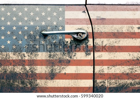 Usa flag on old car door. Retro photo. America. Interior poster. 80s