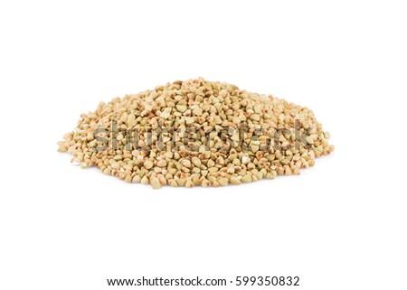 Pile of organic bio buckwheat raw on white background #599350832