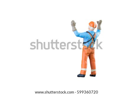 Miniature people engineer and worker occupation isolated with clipping path on white background. Elegant Design with copy space for industrial and construction concept