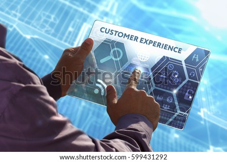 Business, Technology, Internet and network concept . Young business man working on the tablet of the future , select the virtual screen: Customer experience