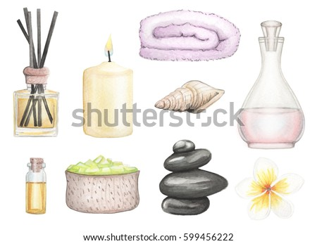 Set SPA element hand drawn watercolor illustration on a white background isolated. Collection of SPA and Beauty products clip art