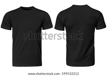 Black t-shirt, clothes on isolated white background.