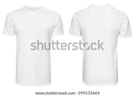 white t-shirt, clothes on isolated white background Royalty-Free Stock Photo #599533664