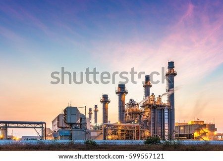 Power plant for Industrial Estate at twilight Royalty-Free Stock Photo #599557121