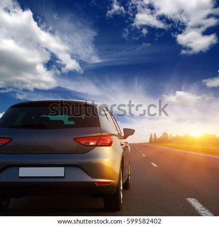 Car and light on the road. #599582402