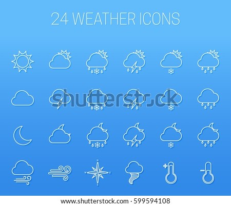 Set of linear weather icons on blue background #599594108