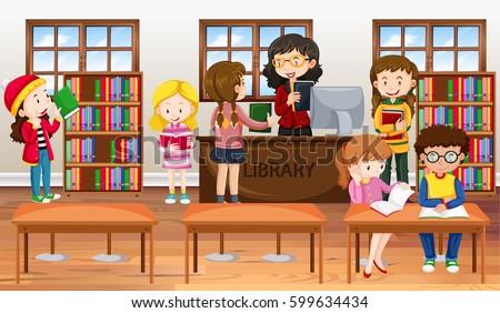 Kids in a school library