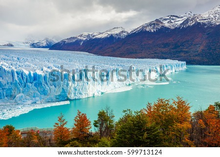 The Perito Moreno Glacier is a glacier located in the Los Glaciares National Park in Santa Cruz Province, Argentina. Its one of the most important tourist attractions in the Argentinian Patagonia. Royalty-Free Stock Photo #599713124