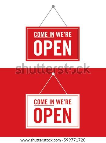 Vector Open Sign Set #599771720