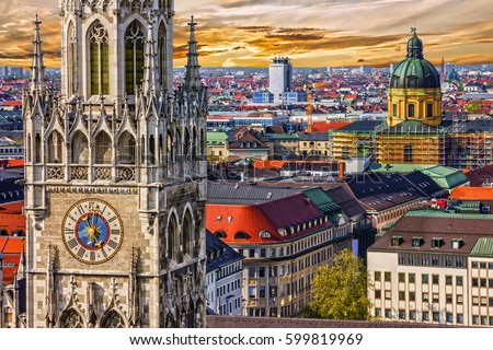 Munich architectural sunset view, Germany, Bavaria. Marienplatz town hall  Royalty-Free Stock Photo #599819969