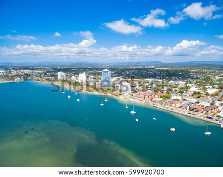 An aerial view of the Gold Coast broadwater the main waterway and boating area on the Gold Coast, Queensland, Australia #599920703