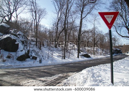 Road and traffic sign on snow at park