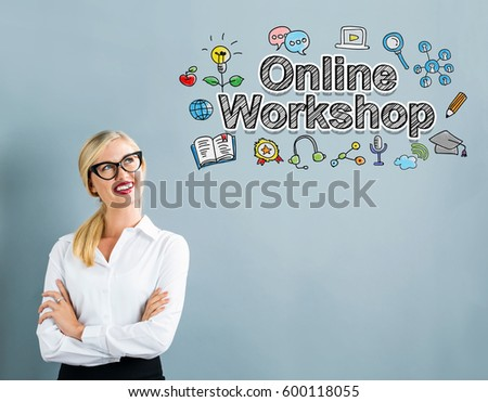Online Workshop text with business woman on a gray background #600118055