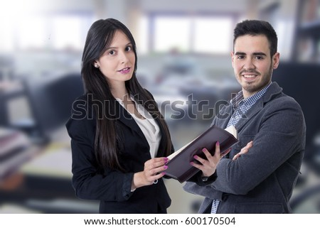man and woman of business, equipment of work and advisory #600170504