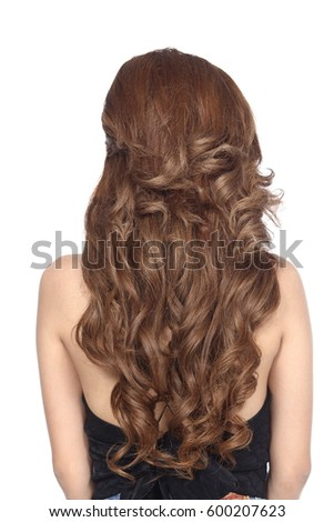 Half Body Portrait of Asian Woman black straight hair wear clothes and turn back rear view over white Background isolated #600207623
