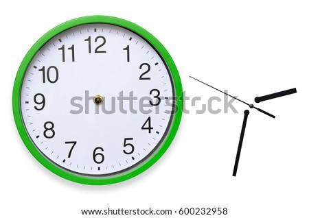 Large, wall, analog clock isolated on white background. #600232958