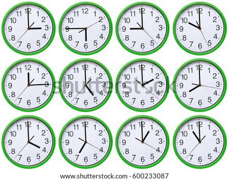 Large, wall, analog clock isolated on white background. #600233087
