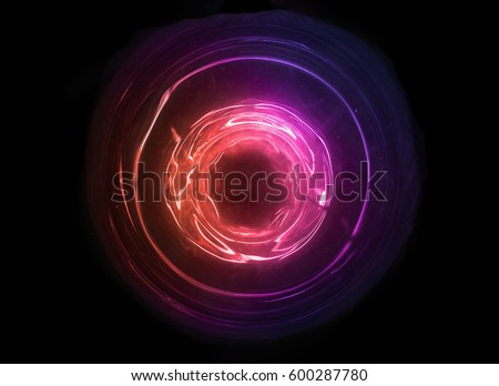 Magical sound wave symbol. Abstract orange, red and purple light. Colorful electricity ball.New high tech technology concept with hole space.Innovation development. Royalty-Free Stock Photo #600287780
