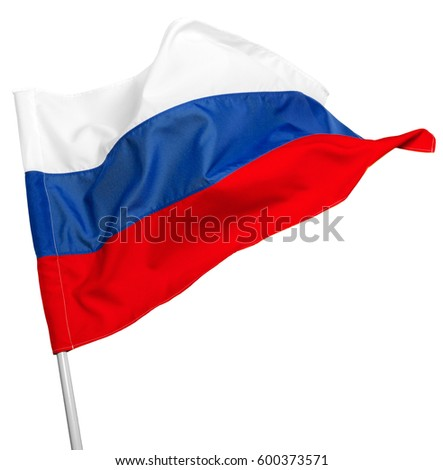 Russia flag waving on white background #600373571