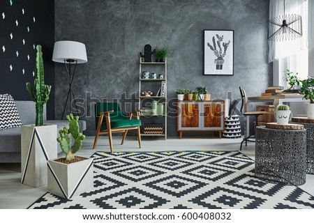 Modernly designed flat interior with cacti