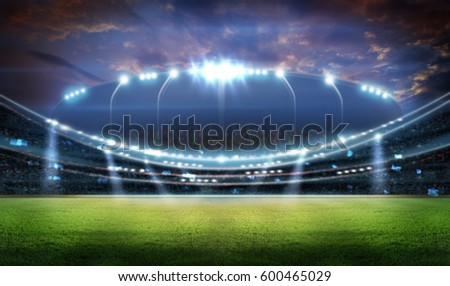 stadium in lights and flashes 3d. Royalty-Free Stock Photo #600465029